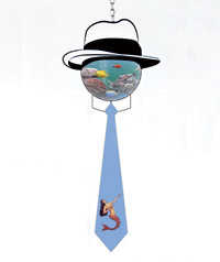 A round aquarium wearing hat and necktie with a red fish inside
