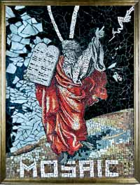 Moses is portrayed in mosaic style