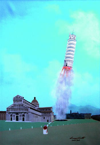 Here is the tower of Pisa shooten to the space