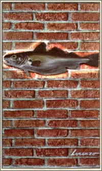 Here we see a 'whiting' - the fish - on a wall